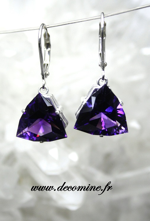 boucle d oreille amethyste naturelle triangle ARROW
