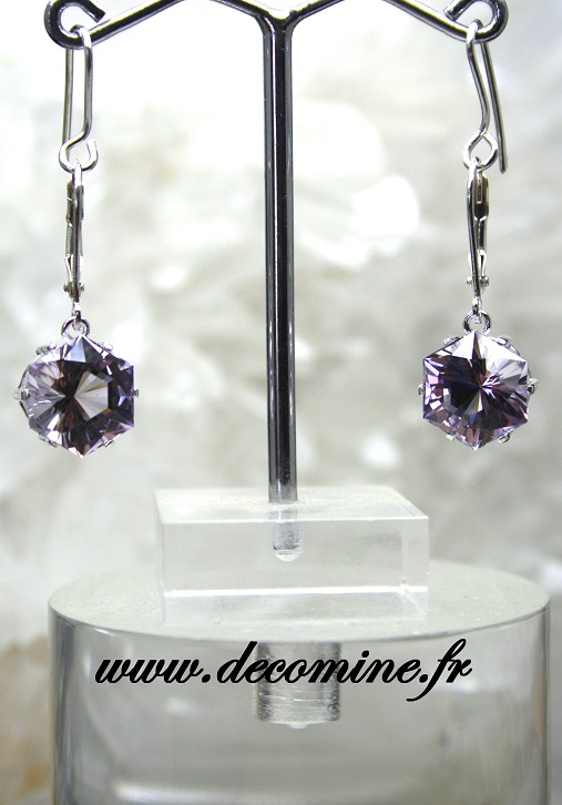 boucle d oreille amethyste bolivie rose de france hexagonale