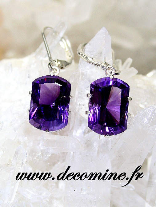 boucle d oreille amethyste taille rectangle fancy