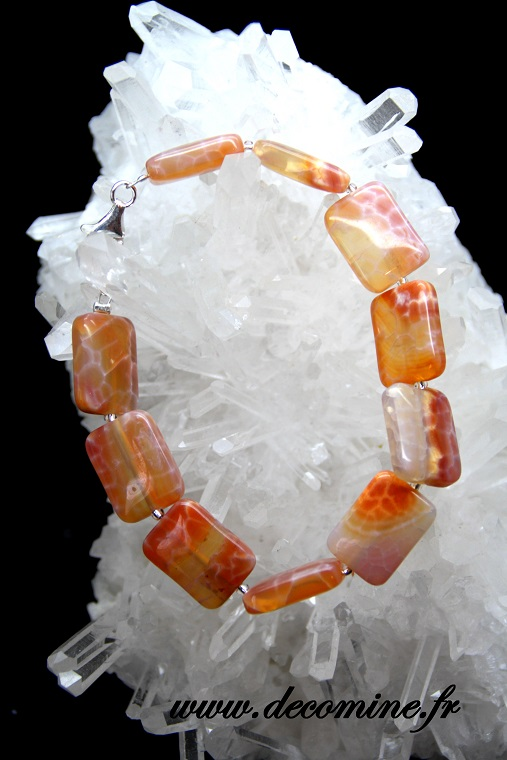 bracelet agate peau de serpent rectangle