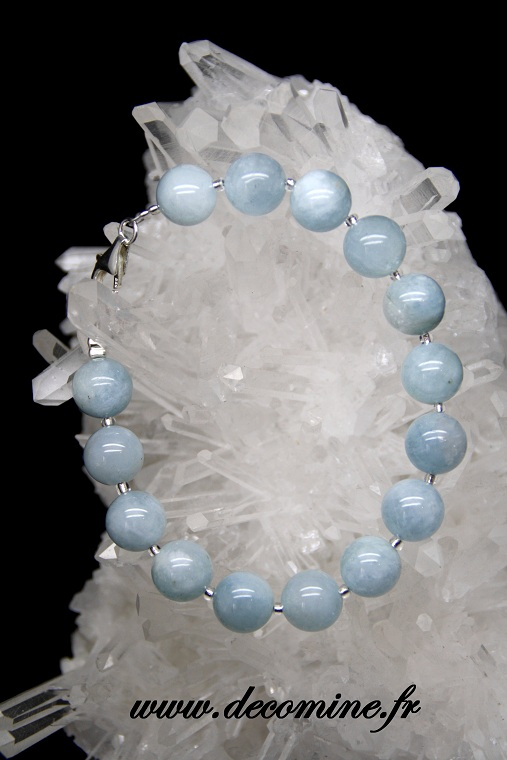 bracelet aigue marine bleue 10 mm