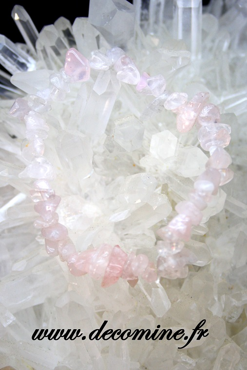 bracelet elastique quartz rose chips