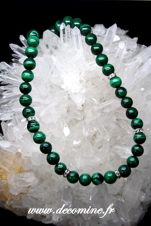 collier malachite 10 mm et strass
