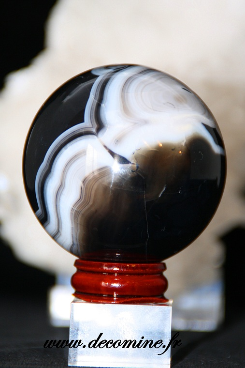 sphere agate noire 60 mm
