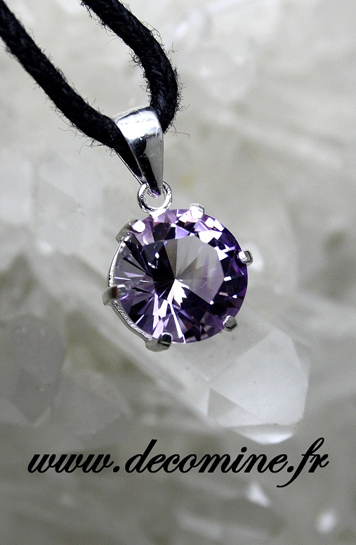 pendentif amethyste bolivie rose de france rond fancy