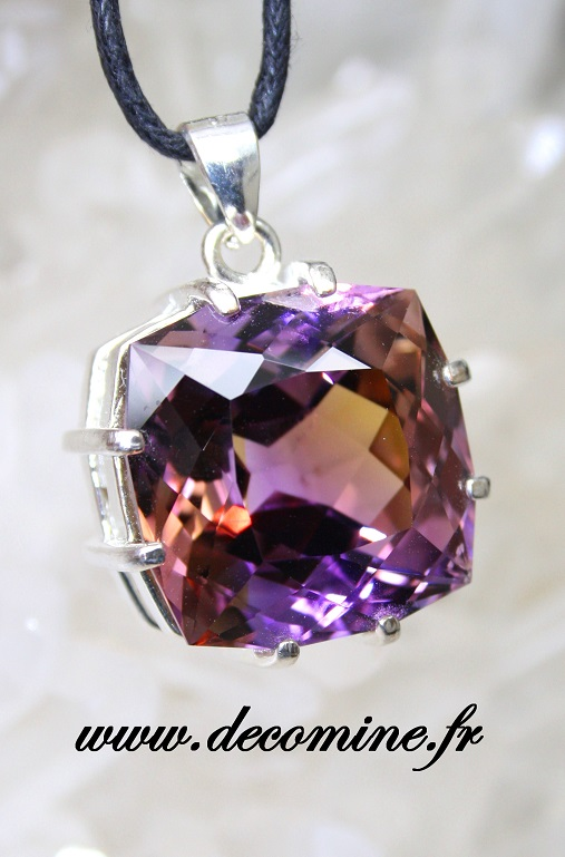 pendentif ametrine bolivie naturelle taille coussin