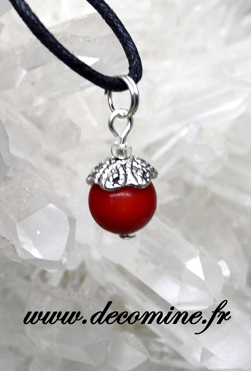 pendentif corail rouge fossile perle