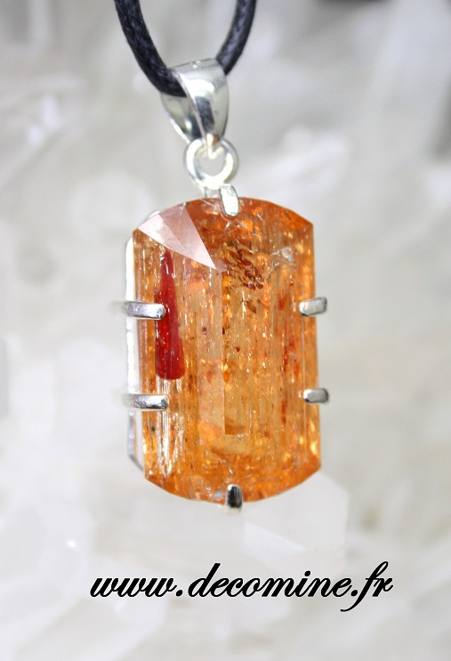 pendentif topaze imperiale orange grand rectangle