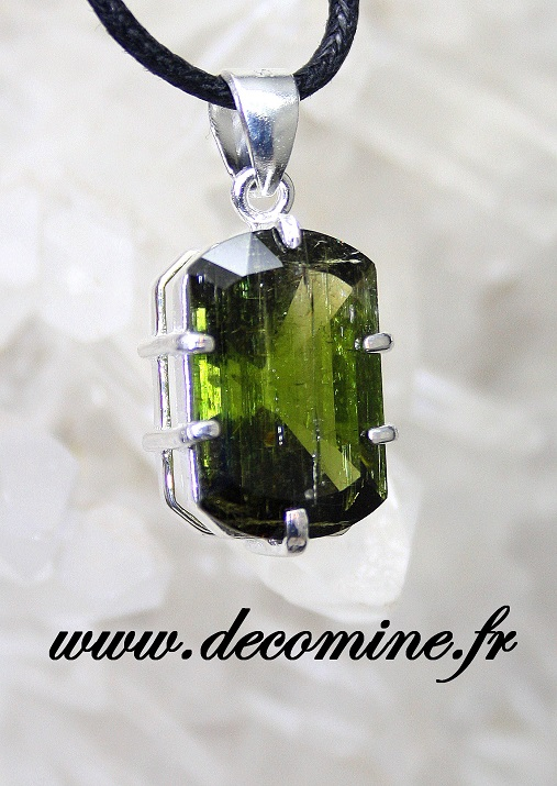 pendentif tourmaline verte verdeilite rectangle