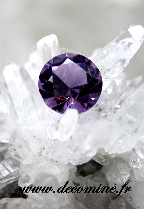 amethyste calibre taille brillant rond 12 mm